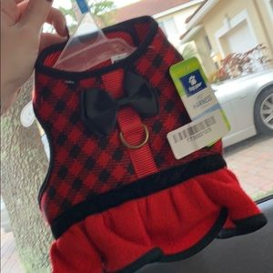 Small dog harness plaid